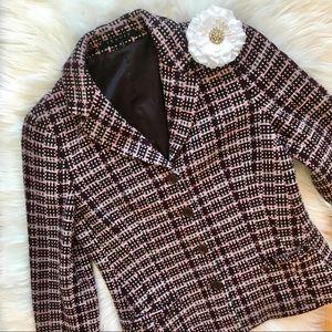 Theory Plaid Check Wool Blazer Pea Coat